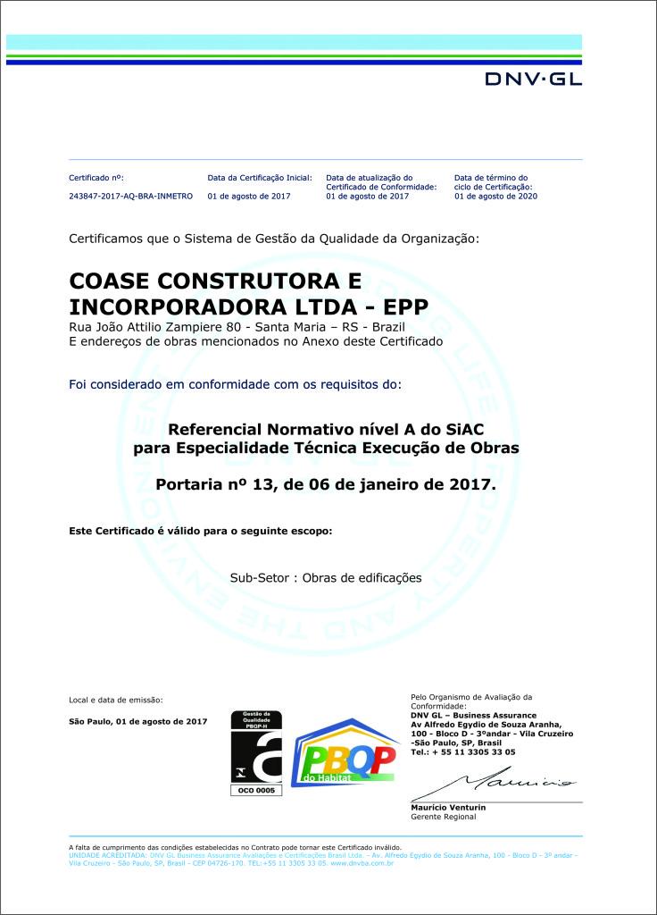 CERTIFICADO DE QUALIDADE COASE CONSTRUTORA 2017